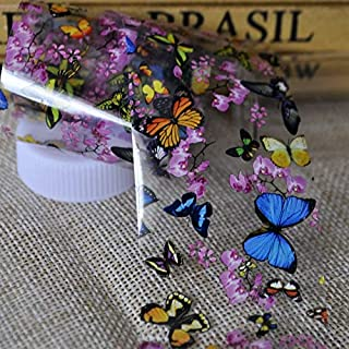 Tempea Blue butterfly Pink flower petal chameleon laser glitter NAIL FOILS psychedelic retro rainbow tie dye holographic nail sticker 3d nail art tattoo decal manicure decoration acrylic nail vinyl
