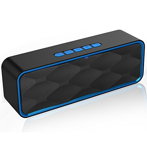 YISEA Bluetooth Speaker Portable Wireless Speaker V4.2 with Mega Bass, 12-Hour Playtime, Crystal Clear Stereo Sound, TF Card Slot, Built-in Mic,FM Radio, Perfect for iPhone, Samsung and More(Blue)