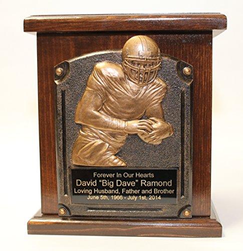 Football Adult Memorial Wooden Urn