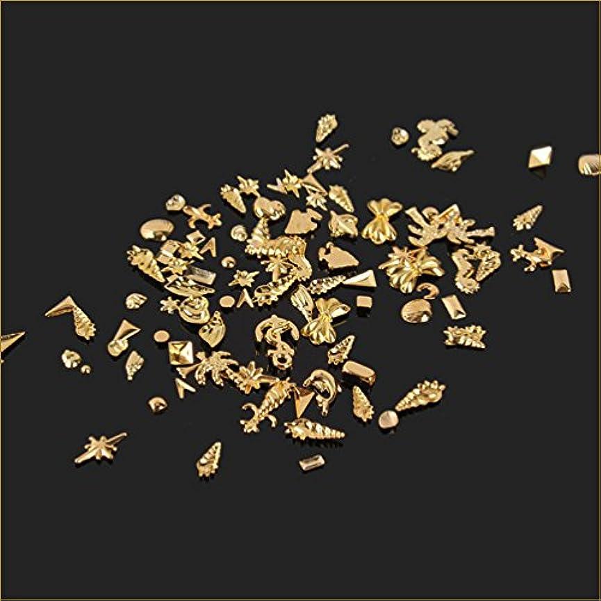 乳白浸食適用するネイルパーツ シェルパーツ ネイルアートパーツ 貝海系 100個入りサマーゴールド スタッズ ジェルネイル