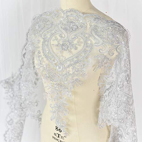 3D-Spitzenapplikation, Blumen-Aufnäher mit Paillettenbesatz, ideal zum Basteln, Nähen, für Kostüme, Abendgarderobe, Hochzeitsoberteil, A7 silber
