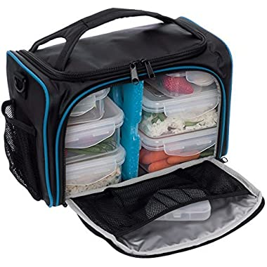 Meal Prep Bag by LISH - Insulated Lunch Box w/ 6 BPA Free Snap-Lock Portion Control Containers, Reusable Ice Pack, Daily Vitamin Organizer & 26  Soft Shoulder Strap (Black & Blue)