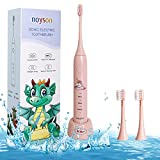 Cepde dientes eléctricos para niños, cepillos de dientes para niños con 3 cabezas de cepde dientes, cepillo de dientes para niños y niñas 3+(Pink)
