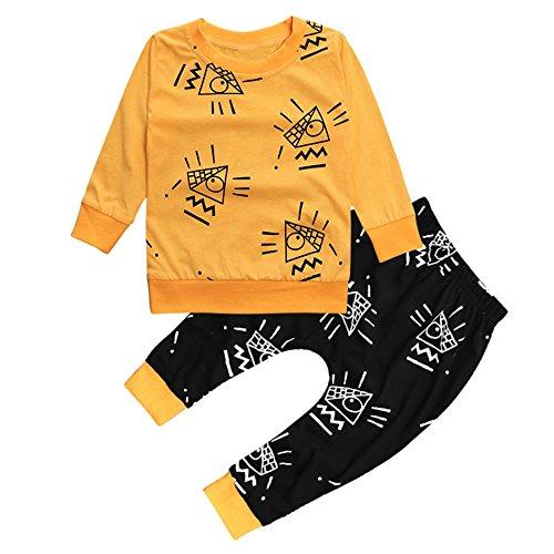 Kinder Unisex Baby 2 Stück Bekleidungsset Herbst,Yanhoo Neugeborenes Baby Jungen Mädchen Elefanten Gestreift Print T-Shirt Tops Set Casaul Kleidung (70, Gelb-1)