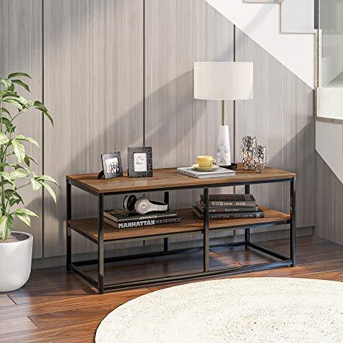 HLOEC Mesa de café cuadrada/mesa consola antigua/mesa de café industrial/escritorio con estante de almacenamiento y estante abierto (bronce)