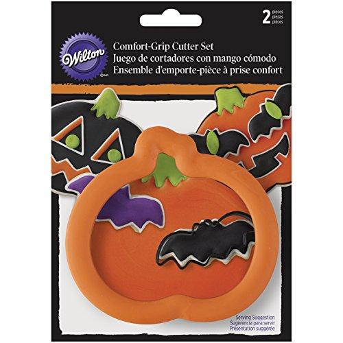 Wilton Juego de moldes cortadores, diseño de Calabaza y murciélago de Halloween, Incluye 2Piezas, de Acero, Multicolor
