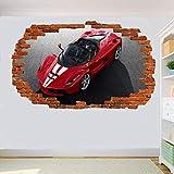 Yxsnow 3D Pegatinas de pared Coche deportivo rojo Extraíble Agujero en la pared Vinilo Decorativo Pegatinas Vista de Efecto Adhesivos De Pared