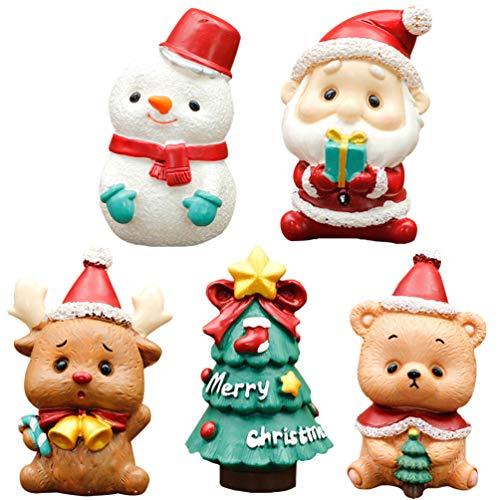 Amosfun 5 Pezzi Mini Resina Ornamenti Natalizi Miniature Natalizie Figure Simpatica Torta di Babbo Natale in Miniatura per Decorazioni per Torte Globo di Neve