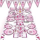 McNory 66 Pieza Vajilla Partido,Chicas de Ballet Niño Accesorio de Decoración de Fiesta de Cumpleaños Rosa-Apoyo para Celebración-Pancarta,Platos,Vasos,Servilletas y Mantel