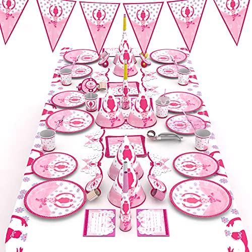 McNory 66 Stück Ballett Mädchen Party Geschirr Set Kinder,Pink Mädchen Geburtstag Party Deko,Geburtstagsfeier,Kindergeburtstag,Baby Shower,Partyzubehör Teller,Becher,Tischdecke usw