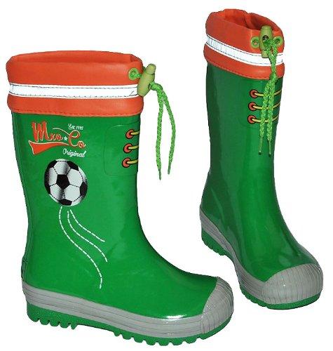 alles-meine.de GmbH Gummistiefel Fußball Sport grün - mit Reflektor + zum Schnüren - Größe 26 - für für Kinder Jungen - Naturkautschuk - Fussballer Ball Fussball