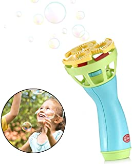 Automatic Bubble Machine for Kids, Hamkaw Electric Bubble Blower Spinner- Giant Bubble Maker Easy Operation, Battery Operated Fan Blowing Bubble Blaster for Bath Outdoor Parties Supplies