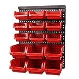 Caja De Almacenamiento Montado En La Pared ABS Herramienta De Piezas Garaje Estantería De Hardware Tornillo Herramienta Organizar Caja De Herramientas Caja De Componentes (Color : Red)