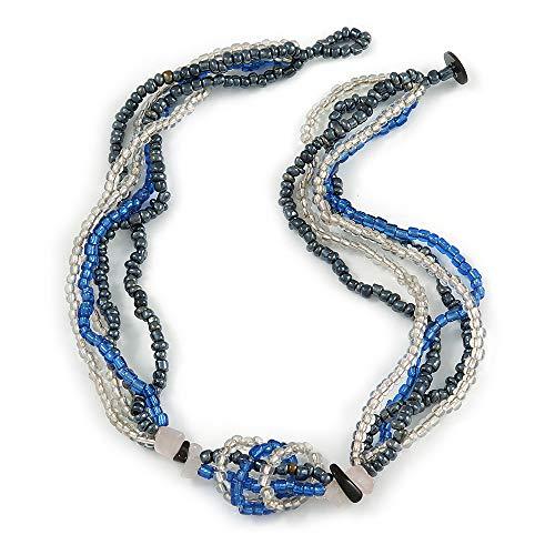 Avalaya Collar de cuentas de cristal de varias hebras (azul eléctrico, hematita, transparente) – 44 cm L