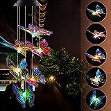 Campanillas de viento de mariposa solares para exteriores, luz automática, cambio de color, impermeable, lámpara colgante móvil, funciona con energía solar, decoración al aire libre para jardín