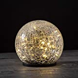 Solar Gazing Ball Light - 6 Inch Globe, Waterproof for Outdoor Use, Crackle Glass, Warm White LED Fairy Lights, Dusk to Dawn Timer, Garden/Pathway Decoration - Battery Included