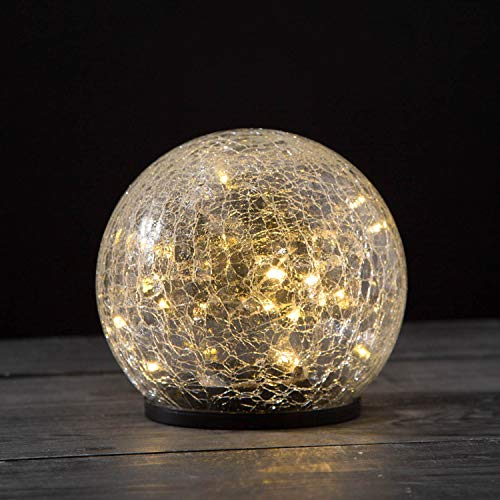 Solar Gazing Ball Light - 6 Inch Globe, Waterproof for Outdoor Use, Crackle Glass, Warm White LED Fairy Lights, Dusk to Dawn Timer / Party Table Top Decoration, Centerpieces - Battery Included