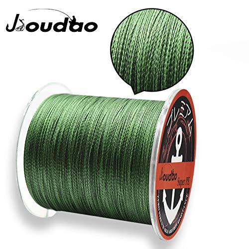 JIOUDAO - Sedal de pesca de alto rendimiento, resistente, superlínea, 300 m, 4 y 8 hebras de polietileno, verde, 40lbs-0.3mm-18.1kg