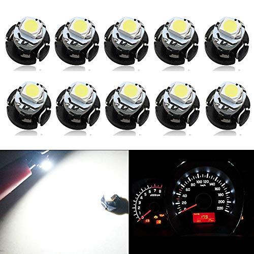 HSUN T3 - Bombilla LED de cuña de 8 mm, 1 LED SMD1210 Chip 10 LM, Extremadamente Brillante para salpicadero de Coche, Instrumento de Lectura, 10 Unidades, 6000 K, Color Blanco