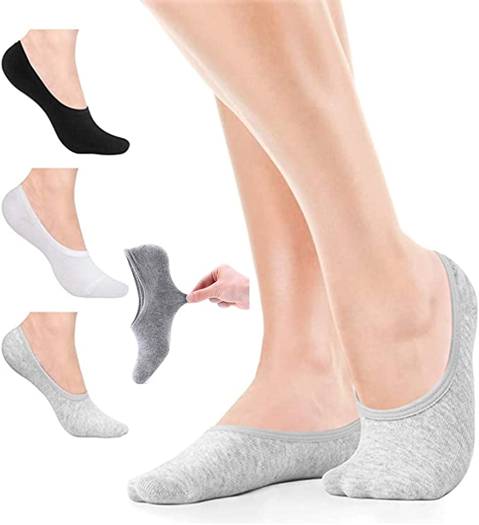 Womens No Show Socks Non Slip Flat Boat Liner Socks Cushioned Invisible Liner Ankle Socks Low Cut Cotton Socks Footies Girl Ladies 6 Pairs