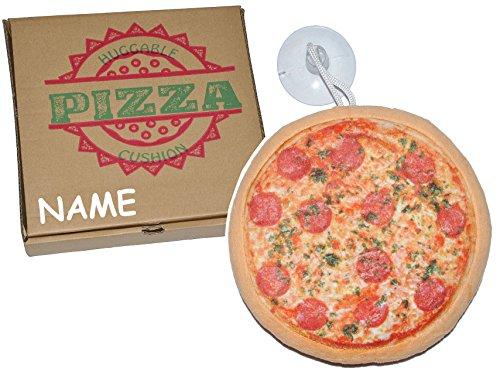 alles-meine.de GmbH Kissen als Pizza 21 cm * 21 cm incl. Name - mit Saugnapf für die Scheibe - Pizzakissen - Kuschelkissen / mit Pizzaschachtel - weich für Kinder + Erwachsene - ..