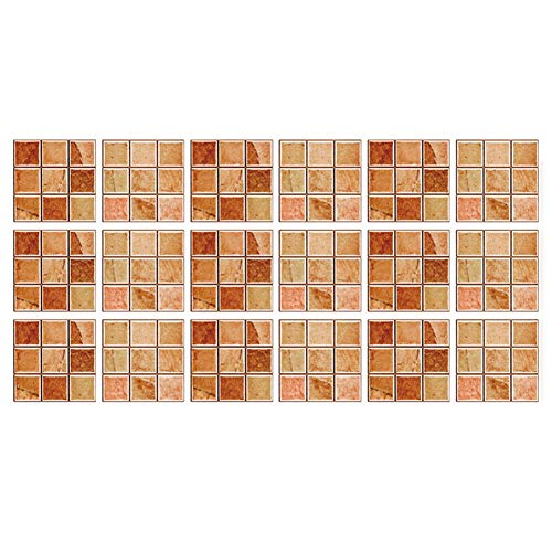 TheBigThumb Peel and Stick - Azulejos de pared para cocina y baño, 18 piezas, adhesivo resistente al agua, diseño de mosaico