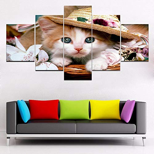 axqisqx canvasdruk wooncultuur hoed katje foto poster 5 stuks diermand bloem schilderij voor woonkamer muurkunst lijst