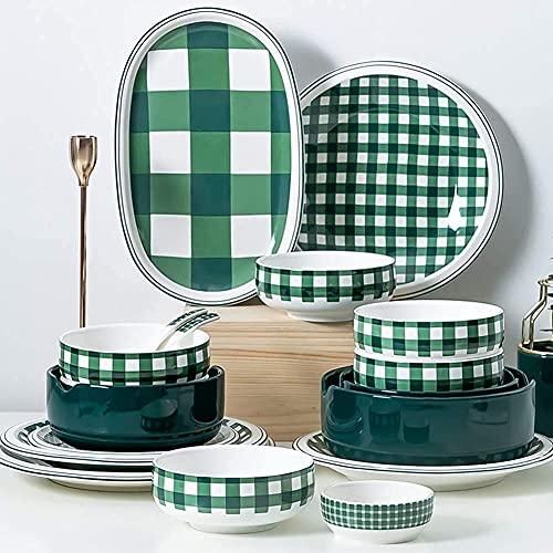 Platos de cena, juego de platos y platos, juego de vajilla de 20 piezas, elegante y fresco juego de vajilla de porcelana con elementos de rejilla verde, estilo nórdico, servicio para 4, regalo de inau