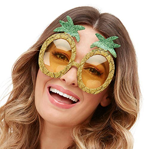 NET TOYS Witzige Ananas-Brille - Gold-Grün - Originelles Party-Accessoire Partybrille Hawaii - EIN Highlight für Festival & Beachparty