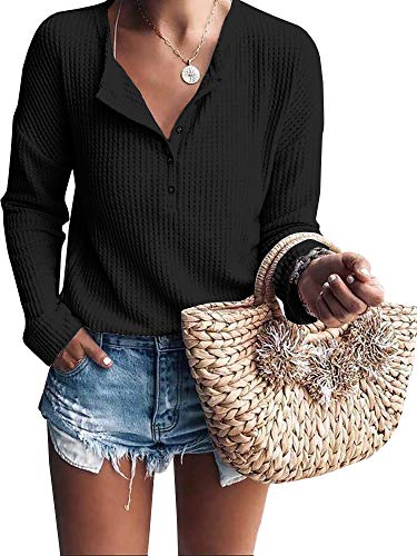 Womens Henley Shirts V Neck Long Sleeve Button Down Tops Warm Waffle Knit Tees Black