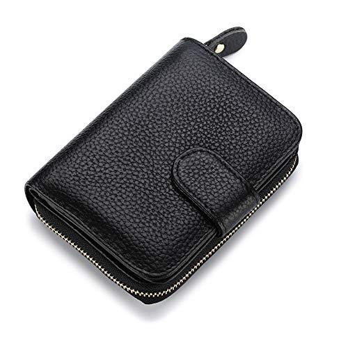 VEVESMUNDO Monedero RFID Mujer Hombre Pequeño Cartera Billetera de Piel Genuino Cuero 12 Ranuras Monedas Tarjetero Tarjeta de Crédito Bifold Compacto Moda con Cremallera (Negro)