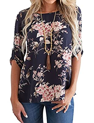Ezcosplay Women Casual O-Neck Loose Cuffed 3/4 Sleeve Floral Tunic Tops Shirt Navy