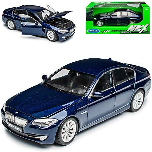 B-M-W 5er 5 Er F10 535i 5353 i Blau Limousine Ab 2010 1/24 Welly Modell Auto mit individiuellem Wunschkennzeichen