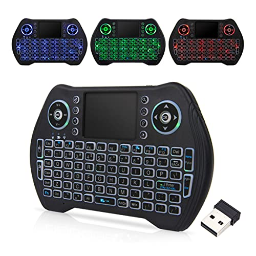 Backlit Wireless Keyboard with touchpad Mouse 2.4GHz Universal Remote Controller Rechargeable li-ion Battery for Android Tv Xbox, Windows, IPTV, Playstation, PS4,Roku,Firestick 3 Colors keypad