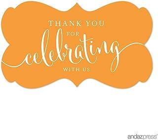 ملصقات ملصقات ملصقات ملصقات بعلامة مستطيلة الشكل بتصميم Thank You for Celebrating With Us، برتقالي، عبوة من 36 قطعة من And...