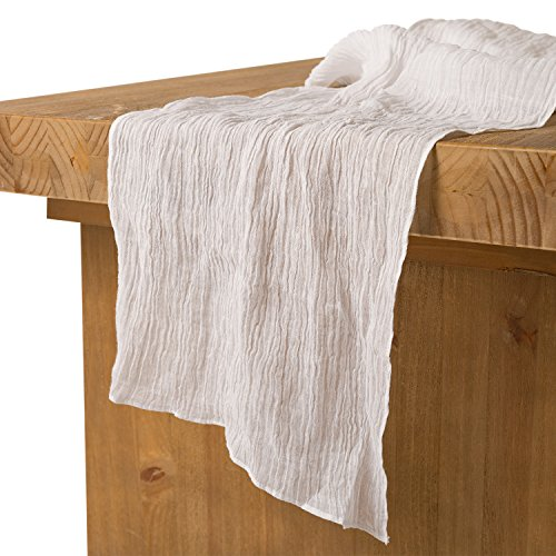 Ling's moment 17' Wide Bohemian White Gauze Cotton Table Runner Cheesecloth Tablecloth for Wedding Party Bridal Shower Centerpieces Decor