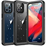 Redpepper Compatible with iPhone 12 Waterproof Case, Full Body 360° Protective Shockproof Dirtproof Case for iPhone 12 (Black/Clear)