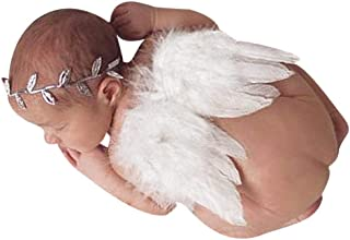 Newborn Baby Angel Feather Wings Photo Prop with Leaves Headband Set Costume White