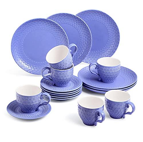 Sunting Kaffeeservice für 6 Personen. 18 tlg Porzellan Kaffeeservice Dunkel Blau. Vintage Stil Geprägte Kaffeetassen Set mit Untertassen, Kuchenteller. Neue Bone China Geschirrset Rund Kaffeegeschirr