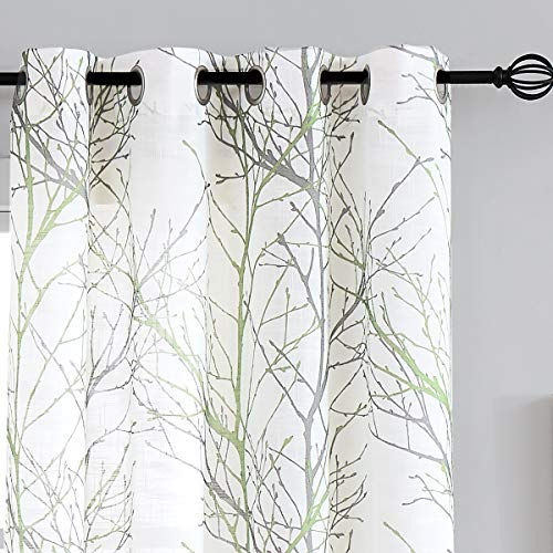 """Fmfunctex Green Sheer White Curtains 84"""" for Living Room Grey Tree Branches Print Curtain Set Linen Textured Semi-Sheer Window Drapes for Bedroom Grommet Top, 2 Panels"""
