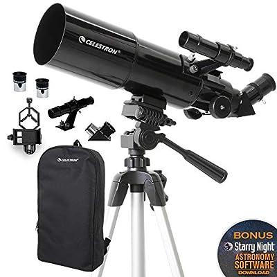 Celestron - 80mm Travel Scope - Portable Refractor Telescope - Fully-Coated Glass Optics - Ideal Telescope for Beginners - BONUS Astronomy Software Package - Digiscoping Smartphone