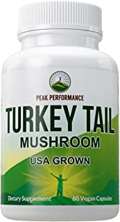 Turkey Tail Mushroom Supplement (USA Grown) by Peak Performance. Immune System Support. Naturally Harvested Mushrooms Extr...