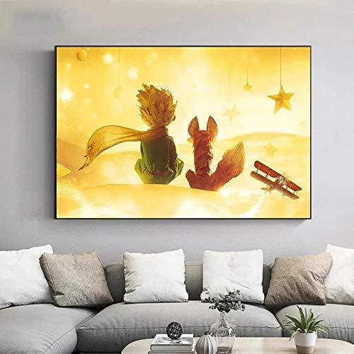 DIY Pintar por números Cuadro de pintura artística El Principito Pintura minimalista moderna nórdica pintar por numeros caballos Con pincel y pintura acrílica pintura por núme40x60cm(Sin marco)