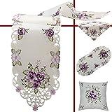 Quinnyshop Camino/mantel para mesa, crema-blanco con bordado de flores pensamientos púrpura/violeta - Tamaño seleccionable, poliéster, 45 cm x 110 cm