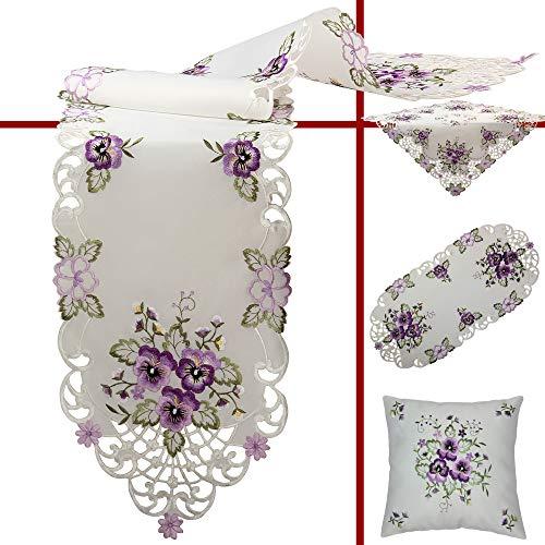 Quinnyshop Lila Stiefmütterchen Stickerei Mitteldecke 85 x 85 cm Eckig Polyester, Weiß