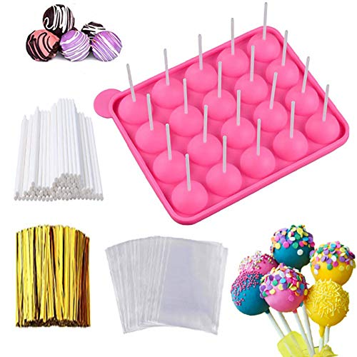 Cake Pop Maker Set - Silicone Lollipop Mold with Lollipop Sticks, Treat Bags, Twist Ties, Round Mold for Lollipop, Candy, Cake Pop, Jelly, ice and Chocolate