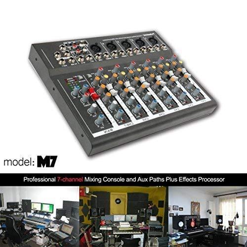 Mesa de mezclas profesional 4/7 canales mezclado de potencia en directo en estudio Audio Sound Consola de Mezclar DJ-Mixer con puerto USB (7 canales)