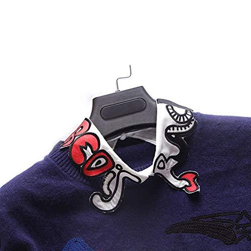 Hot Shirt Fake Kragen abnehmbare Cartoon Stickerei Revers Bluse Tops Kostüm Decor False Kragen Frauen Kleidung Zubehör 1
