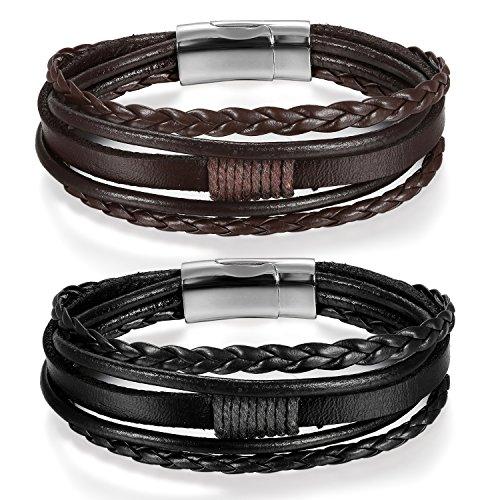 JewelryWe Schmuck 2pcs Herren Damen Armband, Multi-Layered Wickelarmband geflochten Leder Armband Armreif mit Magnetverschluss, Schwarz Braun Silber