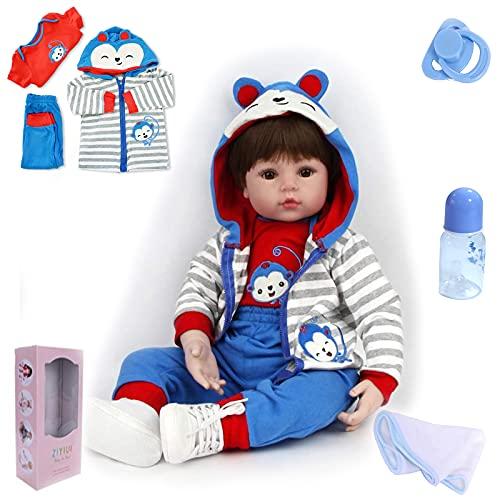 ZIYIUI Muñecas Reborn Bebé Niño 18 Pulgadas 48cm Muñeco Reborn bebé Chico Vinilo Silicona Realista Niño Muñecas Reborn Baby Dolls Recién Nacido Juguetes Regalos de Cumpleanos